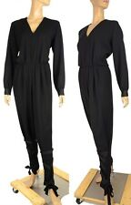 YVES SAINT LAURENT JUMPSUIT DRESS 'EDITION 24 ' BLACK WOOL sz F42 US 10