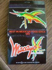 Mayaco Restaurants Mexican Restaurants Parrots Logo Chain 30 Strike Matchcover