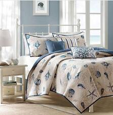 Seashell Beach House Nautical 5 Piece Twin Quilt, Sham & Toss Pillows, New