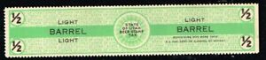US /  State of Utah Beer Stamp Tax - 1/2 Light Barrel - SRS #B19 Mint  no.2175