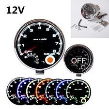 """Universal 12V 3.75"""" 7 Colors Backlight LED Car Tachometer 0-8000 RPM Shockproof"""