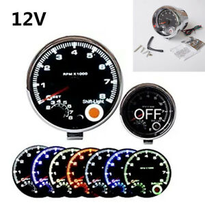 "Universal 12V 3.75"" 7 Colors Backlight LED Car Tachometer 0-8000 RPM Shockproof"