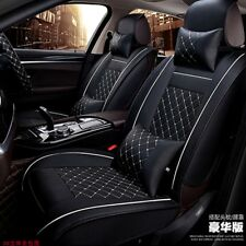Leather 5-Seats Car 2 Front Seat Cover Cushion w/Pillows Size M-Black and White