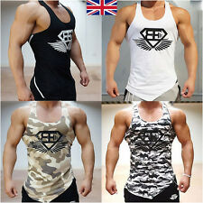 New Mens Vests Pure Cotton Gym Top Summer Training Print Casual T Shirt Tee 2XL