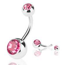 Double Crystal Gem Belly Button Bar Body Piercing Surgical Steel Navel Ring