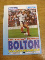 19/10/1991 Bolton Wanderers v Fulham  (team changes). Footy Progs (aka bobfranka