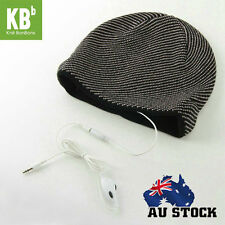 Warm Soft Beanie Hat Smart Headset Headphones Speaker Black With White Stripes