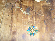 Stunning ornate blue and green flower pendant necklace estate vintage jewelry