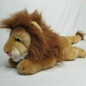 Yomiko Classics Male Lion Plush Russ Berrie Realistic Laying Down Floppy Brown