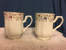 QUEEN ANNE INDIA BONE CHINA MUGS OR CUPS (2) - MADE IN ENGLAND - 8 OZ CAPACITY