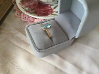 Antique Jewellery Rose Gold Ring Aquamarine and White Sapphires Vintage Jewelry