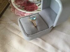 Antique Art Deco Vintage Rose Gold Ring Aquamarine Sapphire White Stones size R