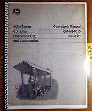 John Deere 3300 4400 6600 7700 Combine Cab & Acc 1972 Owner's Operator's Manual
