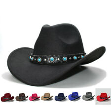 d501fd5ca26 Retro Wool Wide Brim Cowboy Western Cowgirl Bowler Hat Turquoise Leather  Band 57