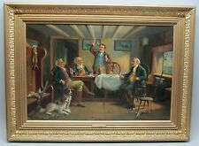 "Antique English Oil Painting  ALEXANDER AUSTEN  ""After the Days Sport""  c. 1900"