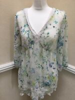 M&S Sheer Top Size 12 Floral Y Neckline Broderie Anglaise Trim Spring (A18)