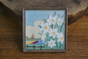 Royal Delft Cloisonne Ceramic Tile Windmill Flowers Village Landscape Vtg Dutch