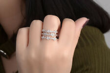S925 Sterling Silver Open Ring 3 Line CZ Star Design Women Jewelry Size 7