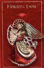 Angel & Harp Pin Jc12 Holiday Lane $24 Gold-Tone Crystal