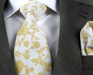 ITALIAN DESIGNER Milano Exclusive WHITE/GOLD FLORAL SILK TIE & HANKY