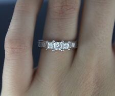 zales IKS 14k Oro Blanco Princesa Corte Baguette Anillo De Compromiso Diamante
