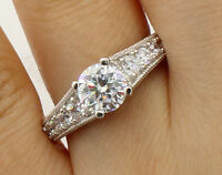 2.50Ct 14K Real White Gold Vintage Antique Round Engagement Propose Promise Ring