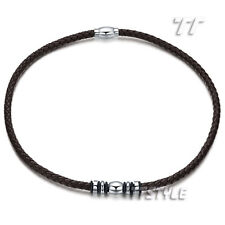 Tt Brown Geniues Leather S.Steel Beaded Magnet Buckle Collar Necklace (Cl18H)