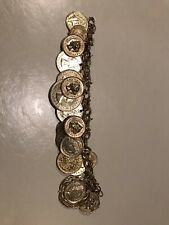 """European Coin Charm Bracelet with 23 Charms Vintage 7.25"""" Gold Brass Charm Link"""