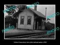 OLD LARGE HISTORIC PHOTO OF LISBON CONNECTICUT, THE RAILROAD STATION c1920