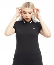 Fred Perry Women's Grosgrain Trim Pique Polo Black 100% authentic free 1st deliv