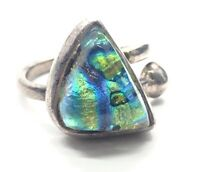 Vintage Sterling Silver Ring 925 Size 5.5 Art Glass Foil Dichroic