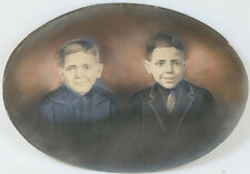 PORTRAIT TWO BROTHERS TINTED LARGE CONVEX PHOTO.