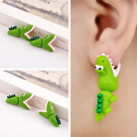 1 Pair Fashion Funny Jewelry Crocodile Open Mouth Cartoon 3D Ear Stud Earring