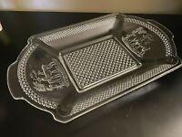 Vintage Clear Pressed Glass Oblong Serving Plate/Bowl with Deer Motif