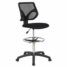 Cool Living Mesh Armless Fixed Upright Adjustable Height Drafting Chair, Black