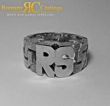 925 Silver Celtic Design 2 letters Personalised Initial Ring Platinum Dipped
