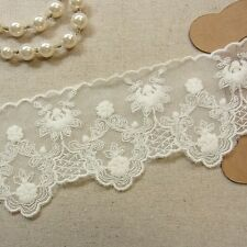 1Yd Vintage Style Embroidery Tulle Lace Trim 6.2cm Ivory Wedding dress Gorgeous