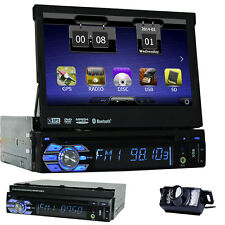 "Single Din In Dash Car Stereo GPS 7"" HD DVD Player Bluetooth Radio USB/SD+CAMERA"