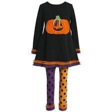 New Bonnie Jean Halloween Ruffled Pumpkin Dress Leggings Set Outfit SZ 5