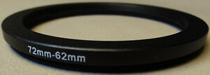 72mm to 62mm Step Down Lens Filter Ring Metal DSLR SLR Digital Camera Adapter
