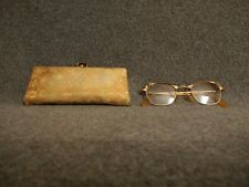 Vintage Cat Eye Glasses with Gold Brown Aluminum Frame and Case