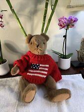 "Vintage 1986 CMC Inc Teddy Bear Rare 14"" Inch Plush +American Flag Knit Sweater"