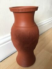 More details for antique hand made red clay terracotta dragon relief design art vase a/f