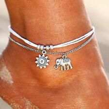 Womens Anklet Bracelet Beach Boho Silver White Sun Elephant Adjustable 2 Layers