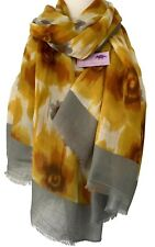Scarf Mustard Yellow Grey Abstract Floral Wrap Ladies Womens Flower Print Shawl