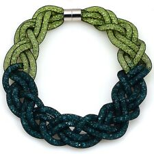 Crystal Necklace With Braided Mesh Chain And Tiny Resin Crystal LT Green