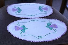 Set of 2 hand embroidered linen doilies purple flowers purple crocheted edging