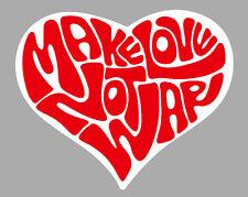 MAKE LOVE NOT WAR AMOUR GUERRE COEUR 9cmx7cm AUTOCOLLANT STICKER AUTO MA205