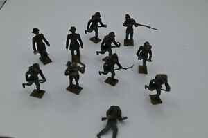 10 Civil War Soldiers + 1 Dead Unit.. Paint Ok Most Weapons Bent Made in France