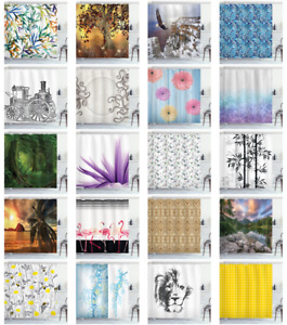 Decorative Bathroom Cloth Shower Curtain Set & Hooks by Ambesonne